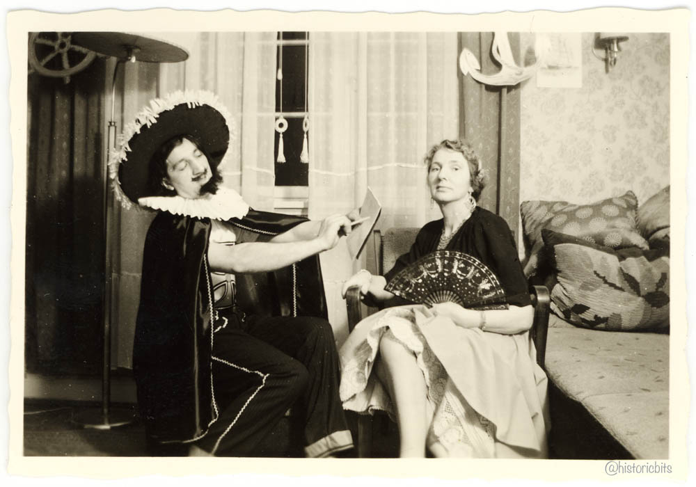 costumed at home,Germany,c.1950