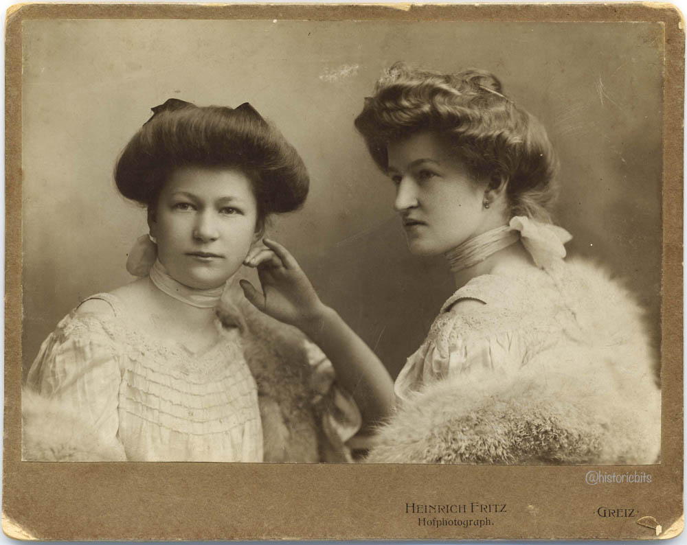 Two ladies in the photostudio, Germany,c.1900