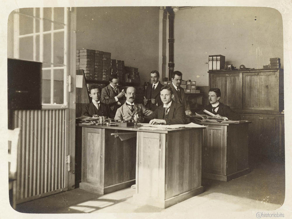 men in the office, Germany c.1910