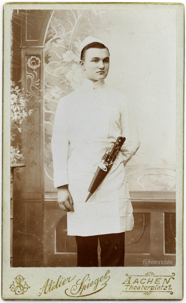 butcher in photostudio,c.1900