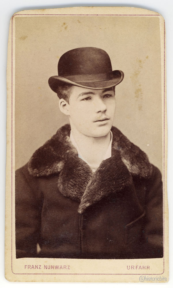 Man with Bowler Hat and Fur Collar,Linz,Austria,c.1880