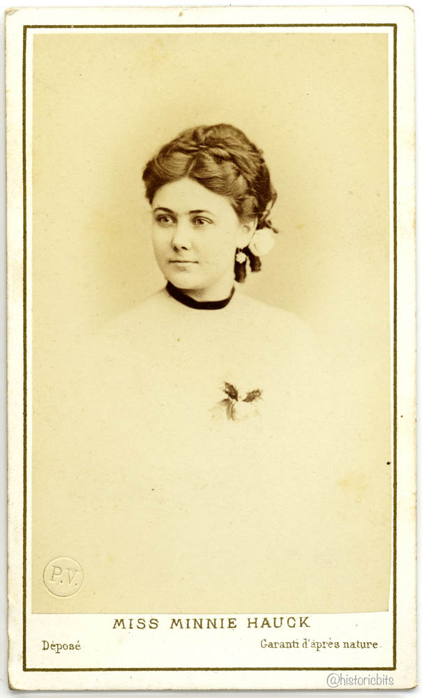 US opera soprana Amalia Mignon Hauck  also known as Minnie Hauk by Ch. Reutlinger, Paris, ca. 1870