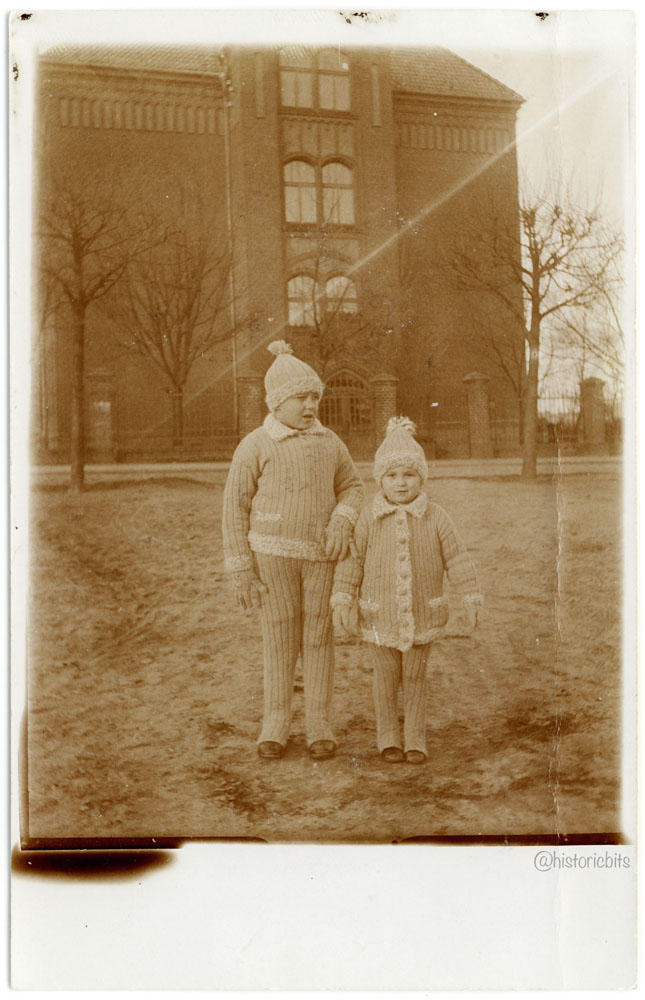 Children with knitted winter clothes,Templin ,Germany,1927
