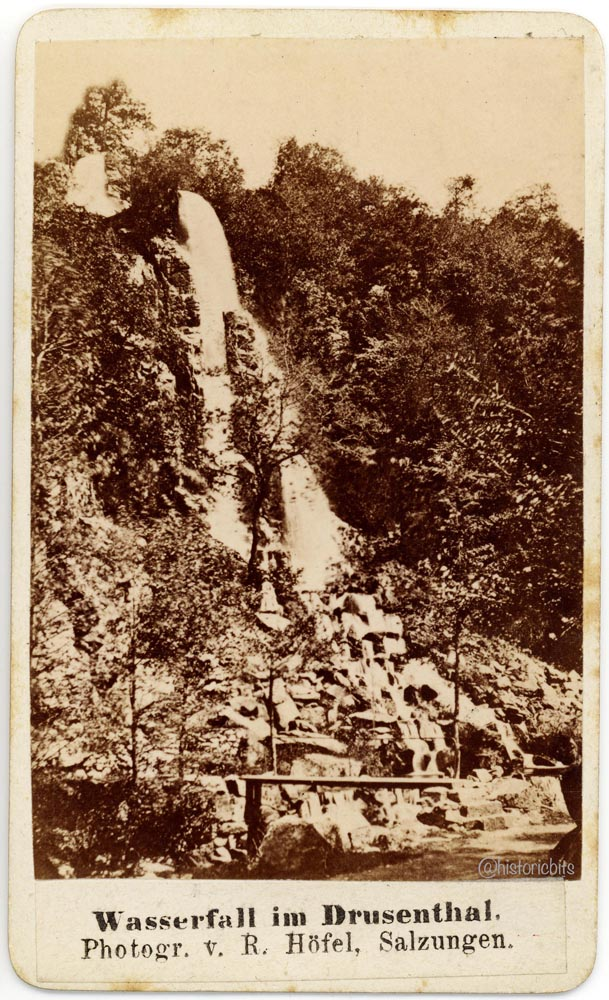 Wasserfall im Drusenthal von R. Hoefel, Salzungen. Thueringen ca 1880