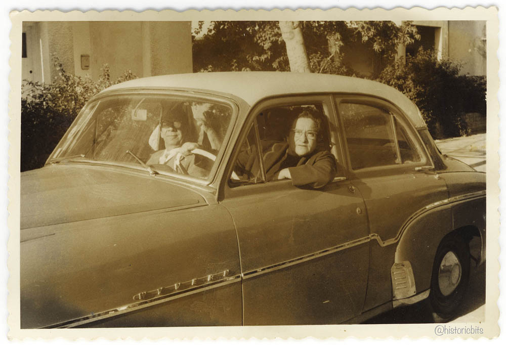 couple in a vauxhall-wyvern,1950er,germany