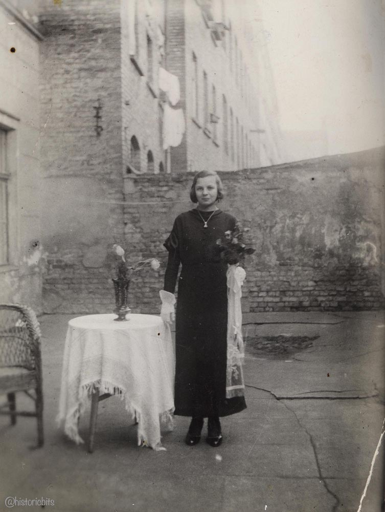 Confirmation portrait in the backyard,Berlin,1940s