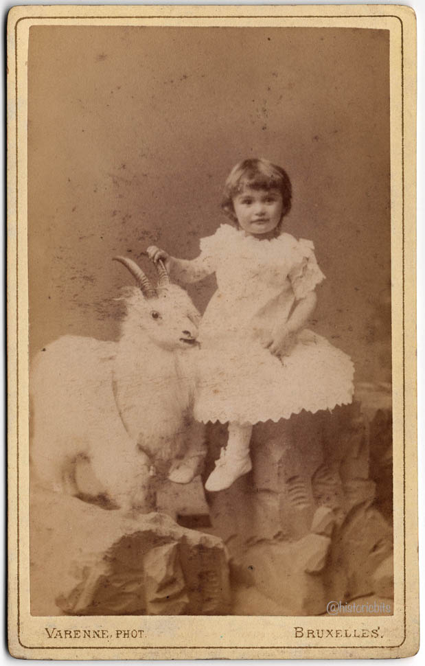 Girl with Prop Goat,Belgium,1890