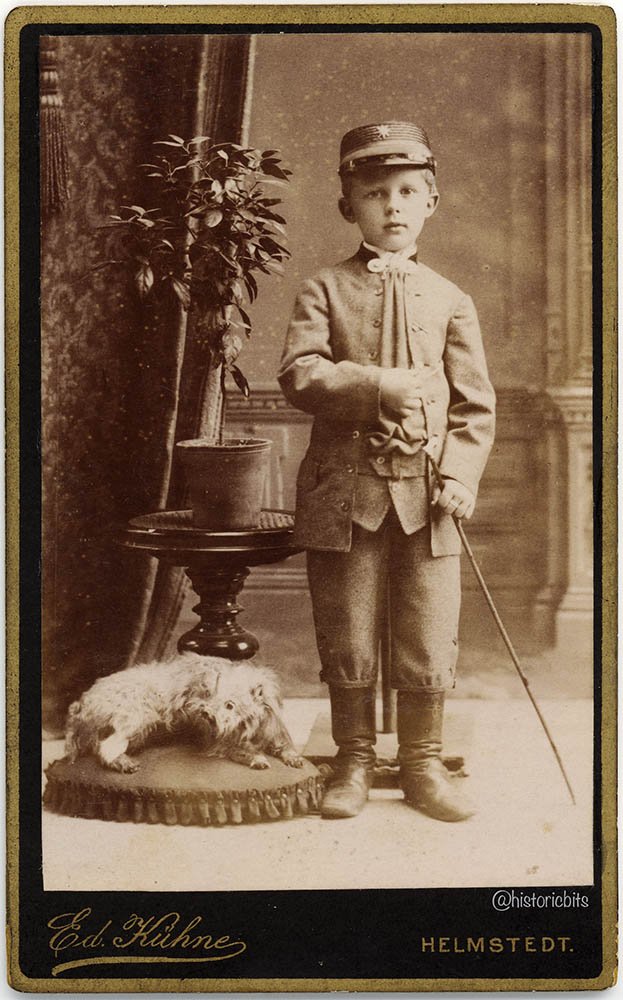 Boy with stuffed Dog,Helmstedt,Germany,c.1890