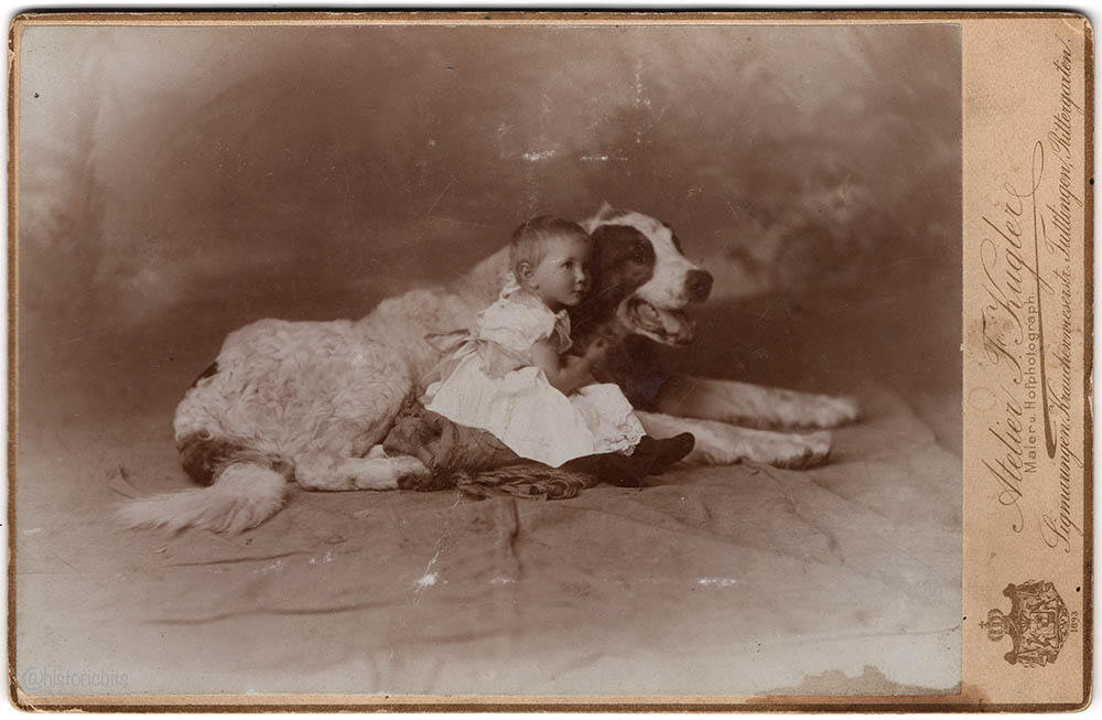 Child with Dog,Photoatelier F.Kugler,Tuttlingen,1893