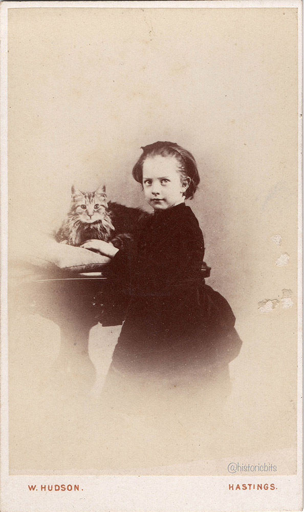Girl with Cat,c.1880,Photostudio Walter Hudson,Hastings,UK