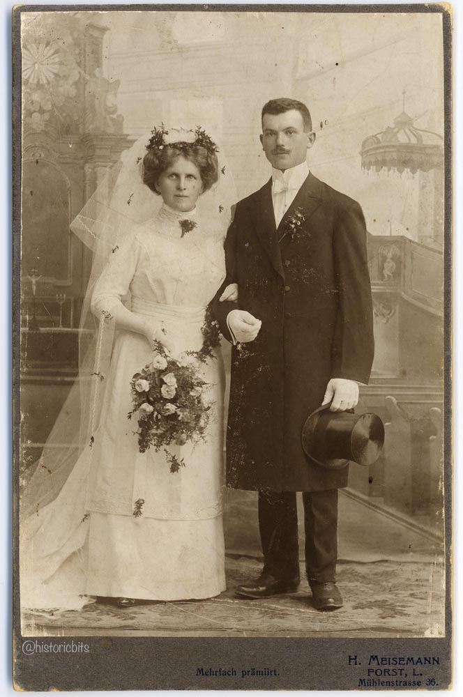 Wedding Couple,Photoatelier Meisemann,Forst,Germany,c.1910