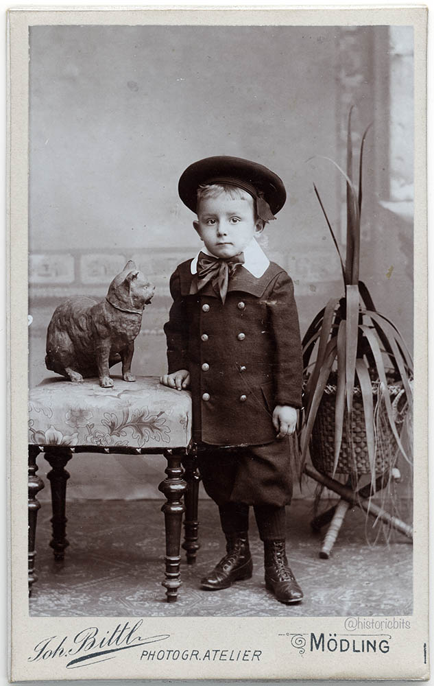 Boy with Prop Cat,Moedling,Austria,c.1890