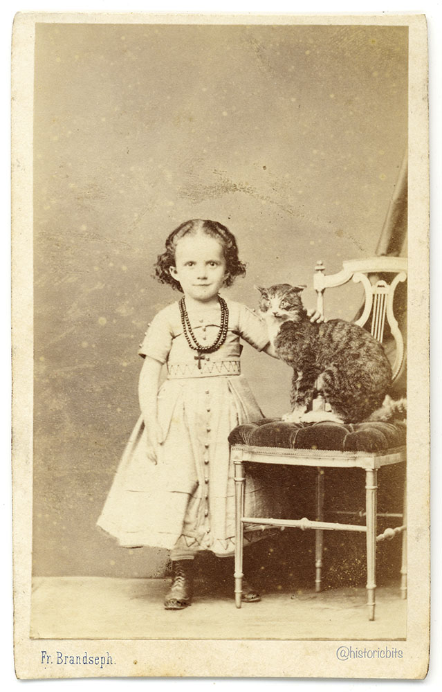Girl with stuffed Cat,Brandseph,Stuttgart,c.1880