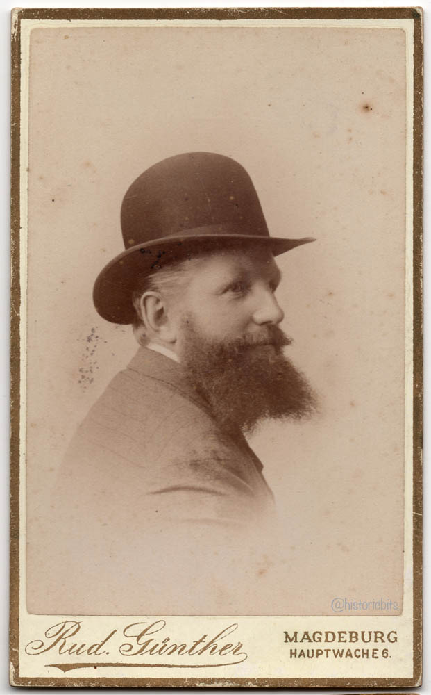man with Beard and Bowler,Magdeburg,Germany,c.1880
